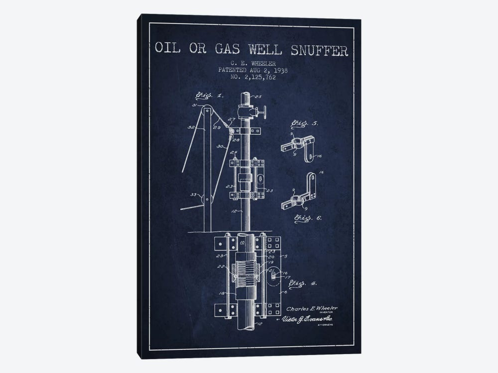Gas Oil Snuffer Navy Blue Patent Blueprint by Aged Pixel 1-piece Canvas Print