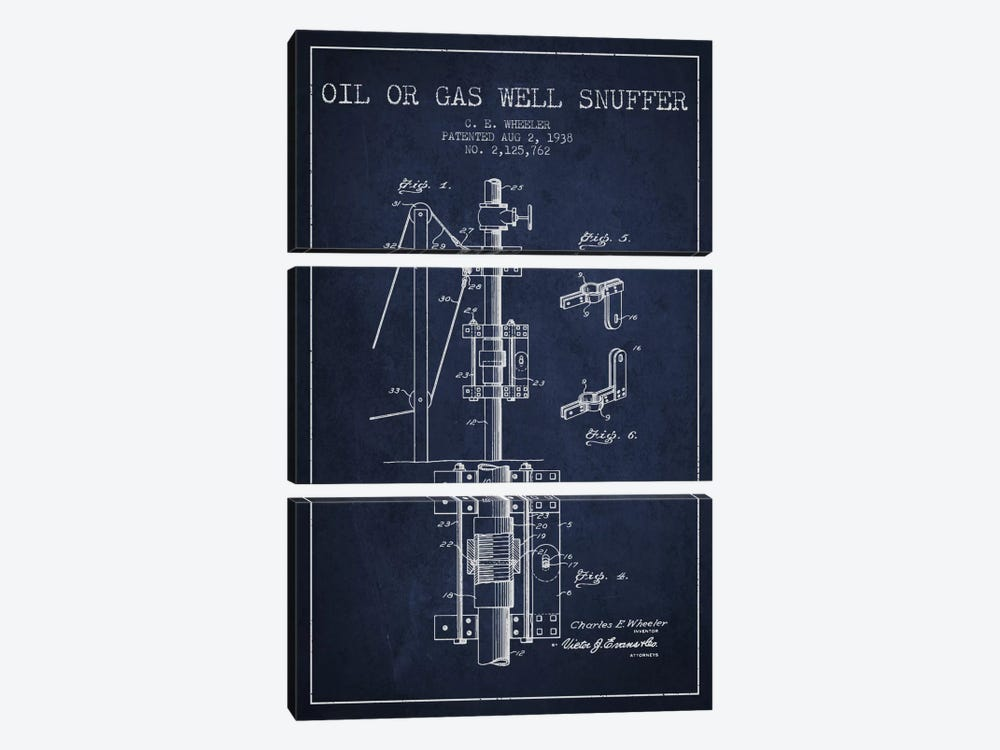 Gas Oil Snuffer Navy Blue Patent Blueprint by Aged Pixel 3-piece Canvas Art Print