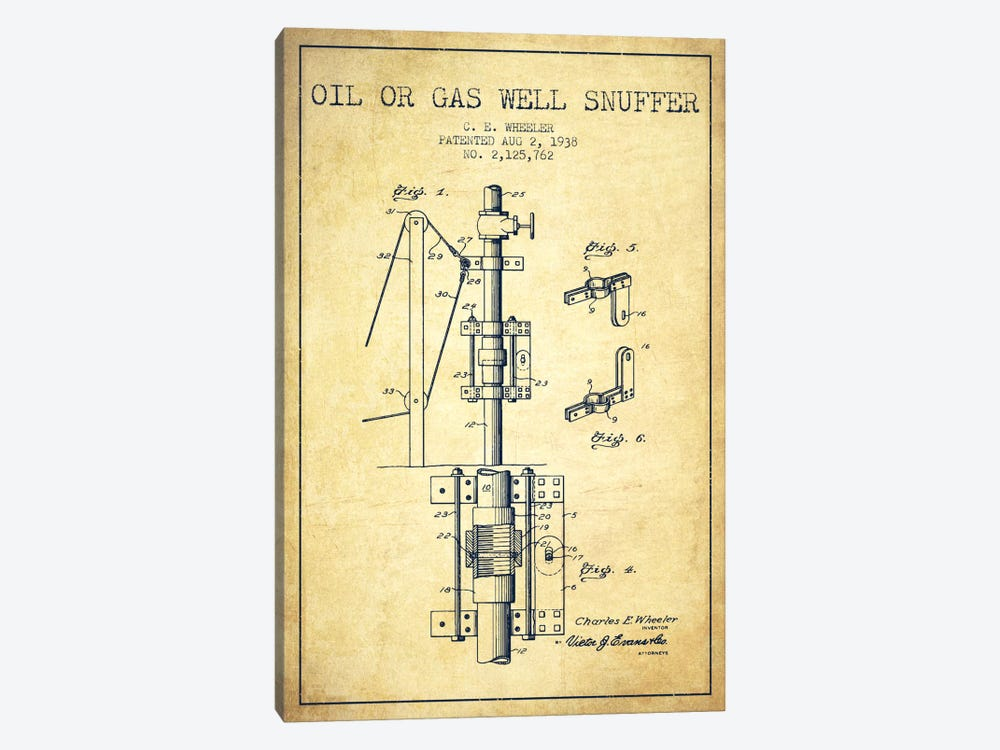 Gas Oil Snuffer Vintage Patent Blueprint 1-piece Art Print