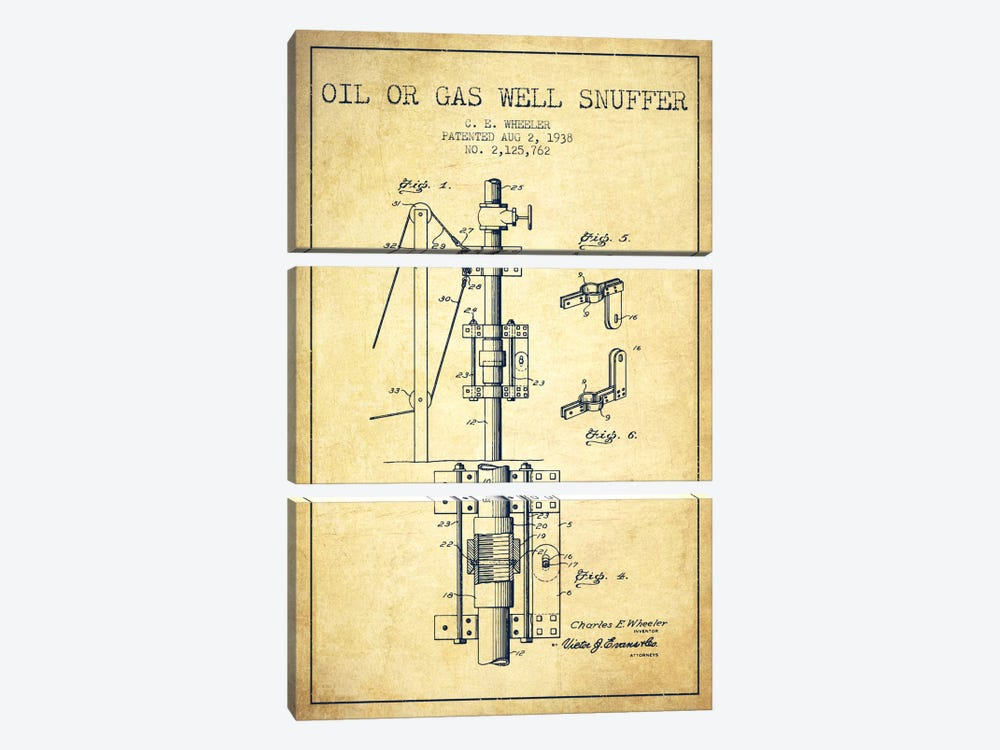 Gas Oil Snuffer Vintage Patent Blueprint by Aged Pixel 3-piece Art Print