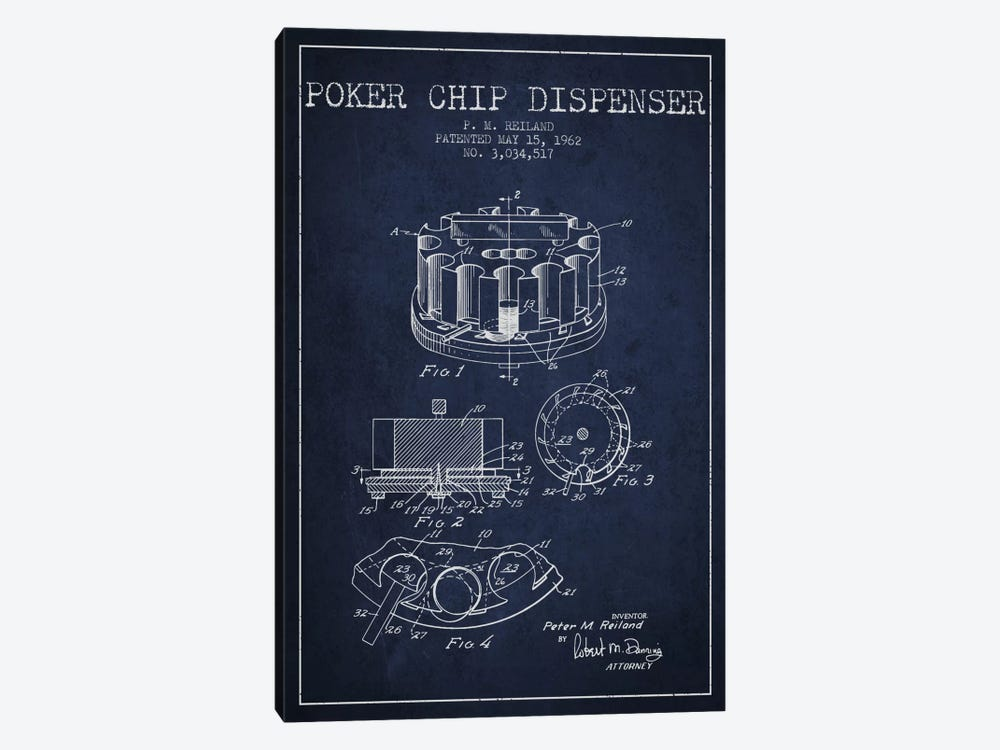 Poker Chip 3 Navy Blue Patent Blueprint by Aged Pixel 1-piece Canvas Art