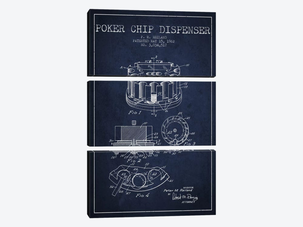 Poker Chip 3 Navy Blue Patent Blueprint by Aged Pixel 3-piece Canvas Art