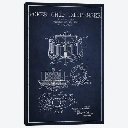 Poker Chip 3 Navy Blue Patent Blueprint Canvas Print #ADP148} by Aged Pixel Canvas Artwork