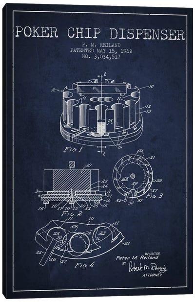 Poker Chip 3 Navy Blue Patent Blueprint Canvas Art Print