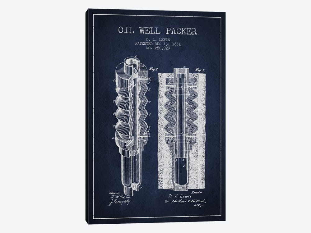 Oil Packer Navy Blue Patent Blueprint by Aged Pixel 1-piece Canvas Art Print