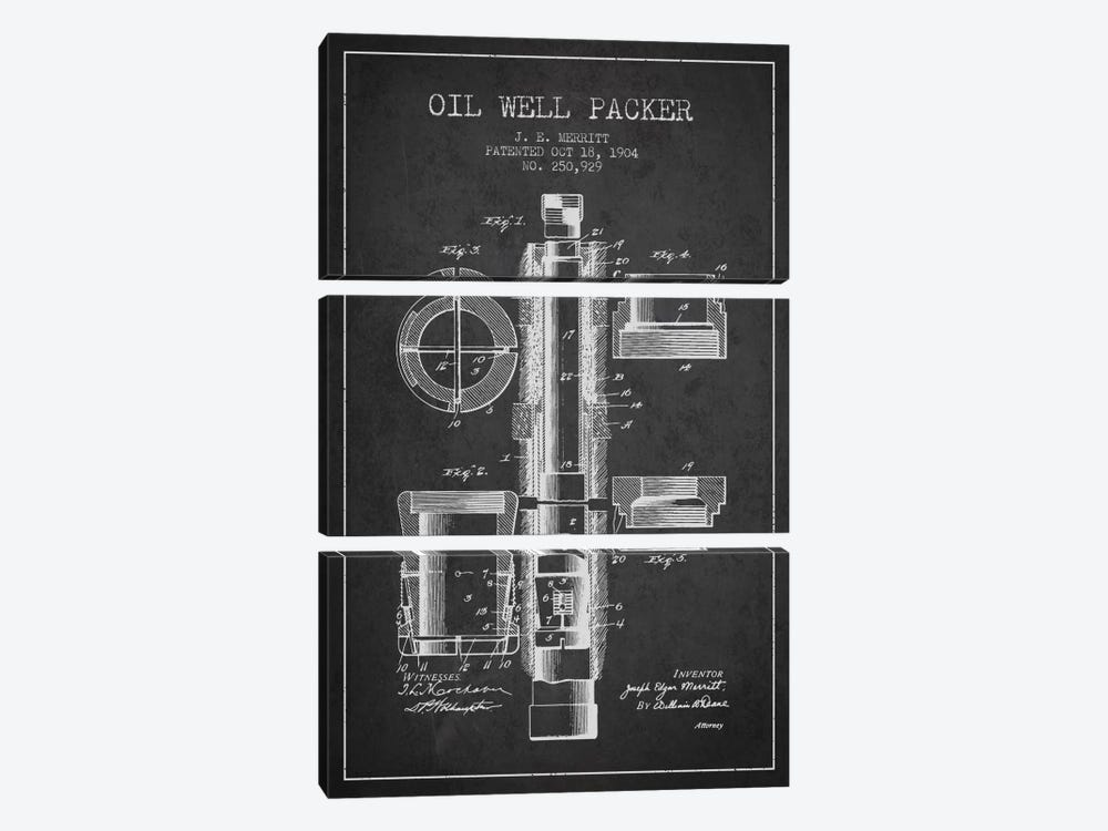 Oil Packer Charcoal Patent Blueprint by Aged Pixel 3-piece Canvas Wall Art