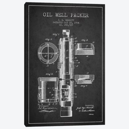 Oil Packer Charcoal Patent Blueprint 3-Piece Canvas #ADP1494} by Aged Pixel Canvas Art