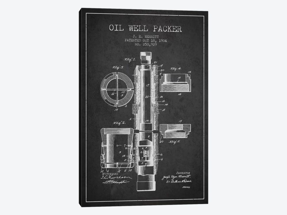 Oil Packer Charcoal Patent Blueprint by Aged Pixel 1-piece Canvas Wall Art