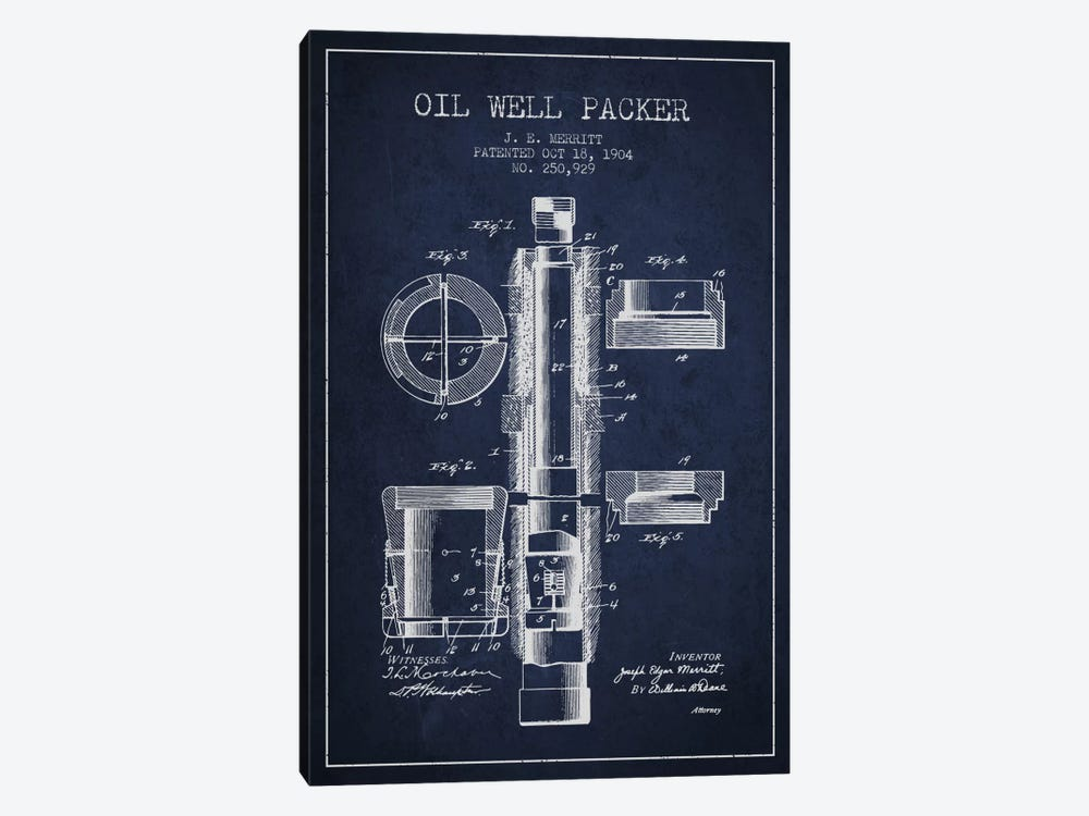 Oil Packer Navy Blue Patent Blueprint by Aged Pixel 1-piece Canvas Artwork