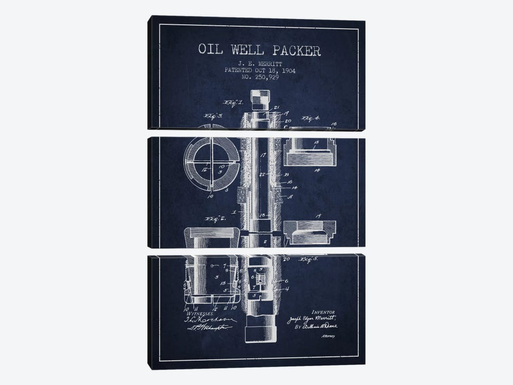 Oil Packer Navy Blue Patent Blueprint by Aged Pixel 3-piece Canvas Artwork