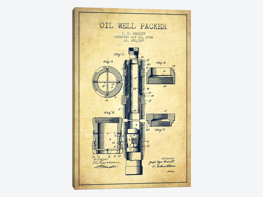 Oil Packer Vintage Patent Blueprint by Aged Pixel 1-piece Canvas Wall Art