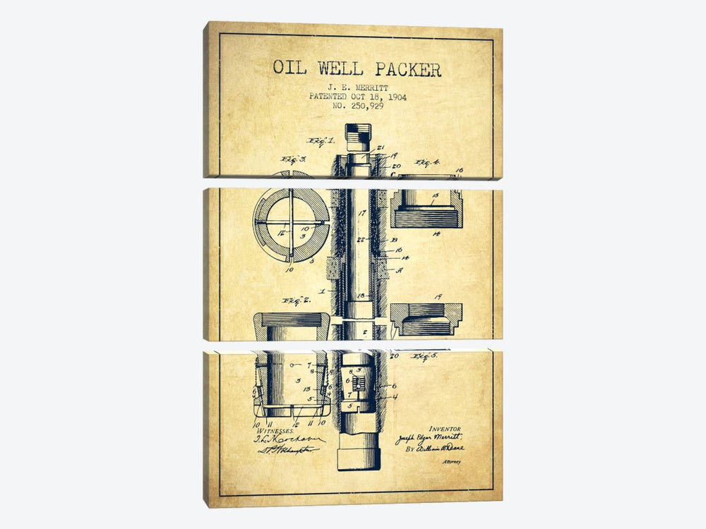 Oil Packer Vintage Patent Blueprint 3-piece Canvas Wall Art