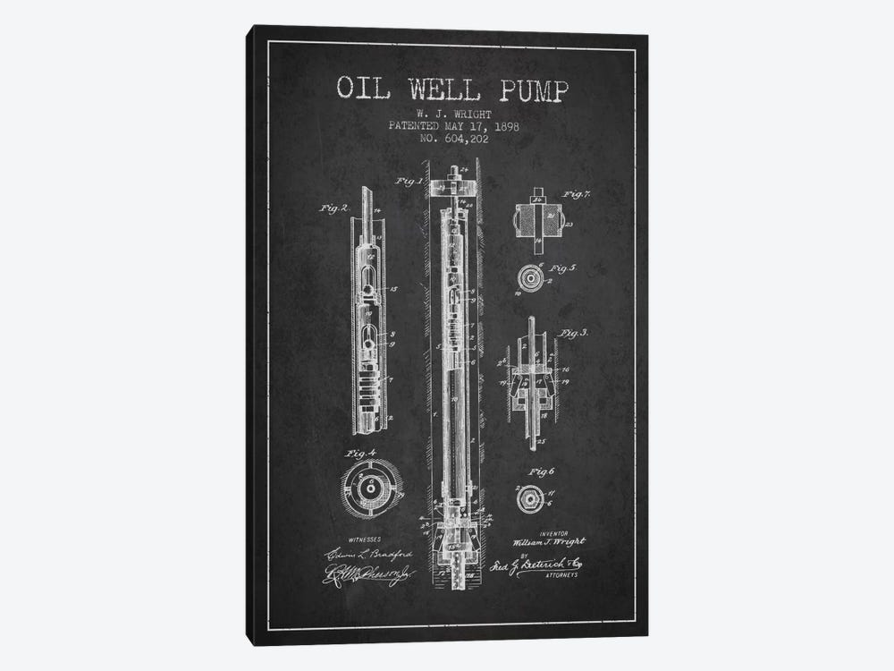 Oil Well Pump Charcoal Patent Blueprint by Aged Pixel 1-piece Canvas Print