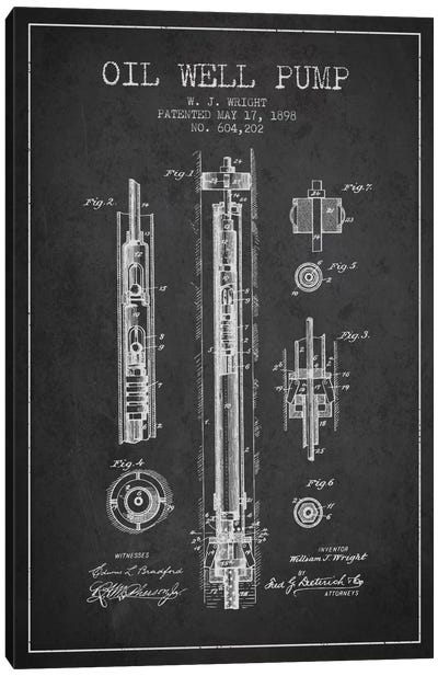 Oil Well Pump Charcoal Patent Blueprint Canvas Art Print