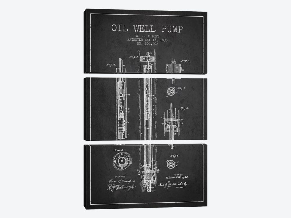 Oil Well Pump Charcoal Patent Blueprint by Aged Pixel 3-piece Canvas Art Print