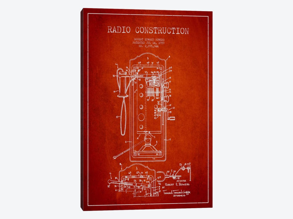 Bowers Radio Red Patent Blueprint by Aged Pixel 1-piece Canvas Art