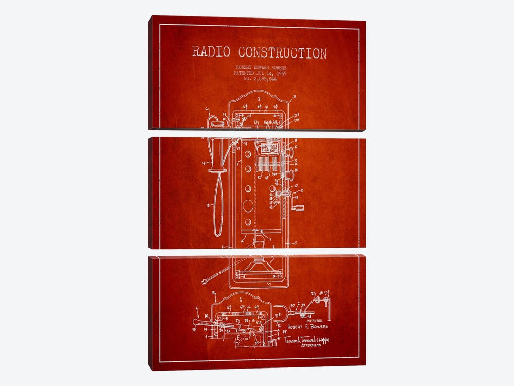 Bowers Radio Red Patent Blueprint by Aged Pixel 3-piece Canvas Art