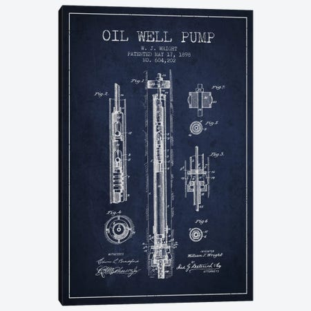 Oil Well Pump Navy Blue Patent Blueprint Canvas Print #ADP1501} by Aged Pixel Canvas Art Print