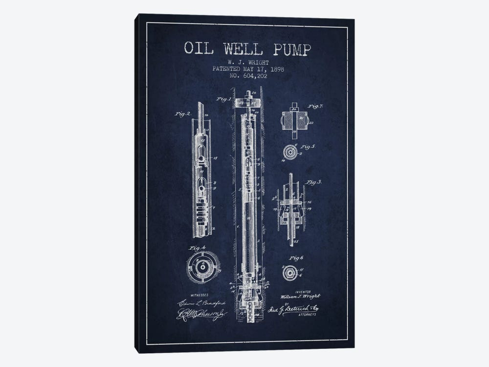 Oil Well Pump Navy Blue Patent Blueprint by Aged Pixel 1-piece Canvas Art Print