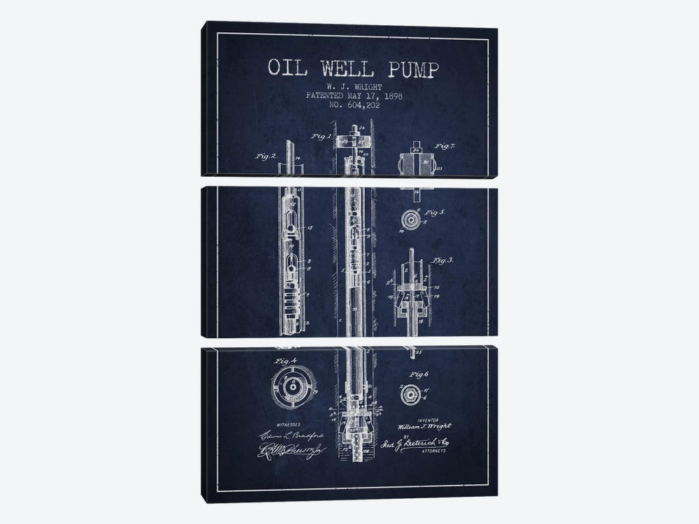 Oil Well Pump Navy Blue Patent Blueprint by Aged Pixel 3-piece Canvas Print