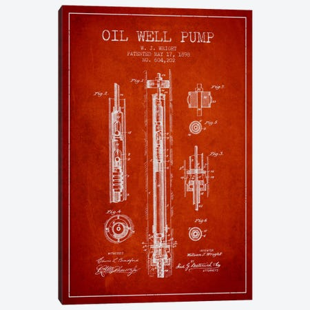 Oil Well Pump Red Patent Blueprint Canvas Print #ADP1502} by Aged Pixel Canvas Art Print
