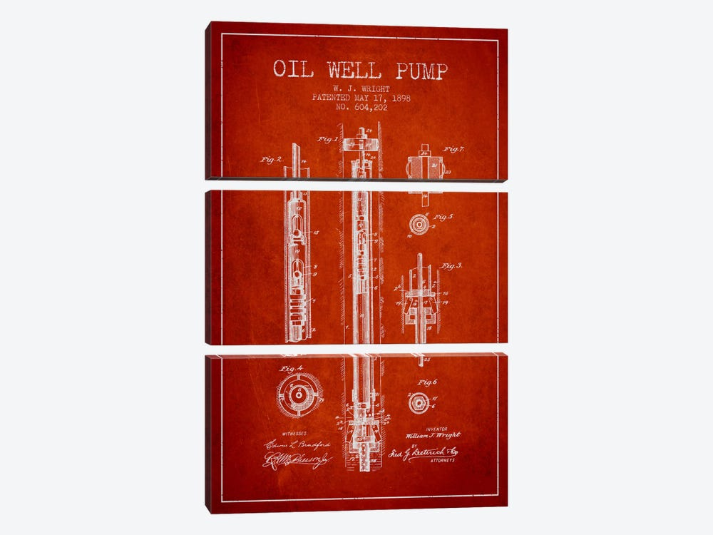 Oil Well Pump Red Patent Blueprint by Aged Pixel 3-piece Canvas Artwork
