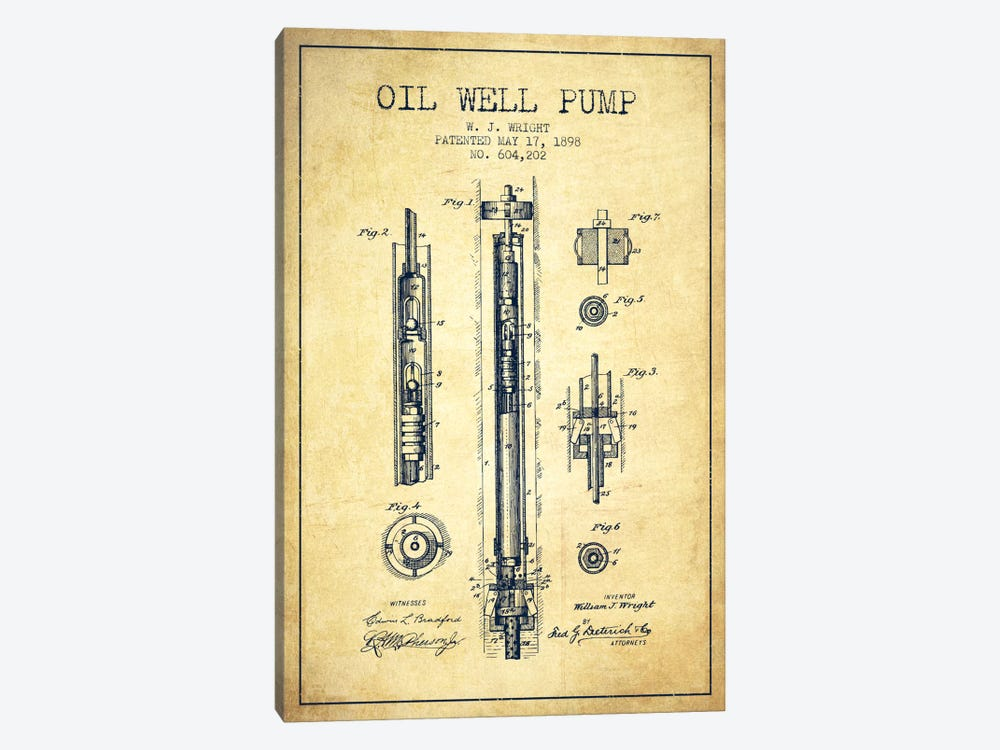 Oil Well Pump Vintage Patent Blueprint by Aged Pixel 1-piece Art Print