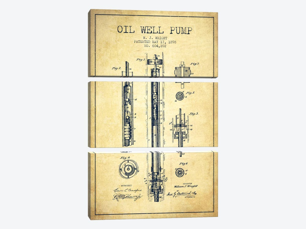 Oil Well Pump Vintage Patent Blueprint by Aged Pixel 3-piece Art Print