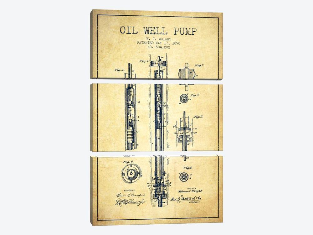 Oil Well Pump Vintage Patent Blueprint by Aged Pixel 3-piece Art Print