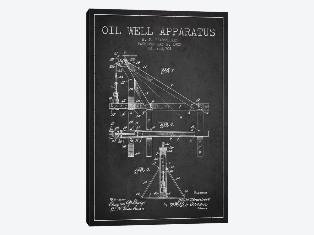 Oil Well Apparatus Charcoal Patent Blueprint by Aged Pixel 1-piece Canvas Art