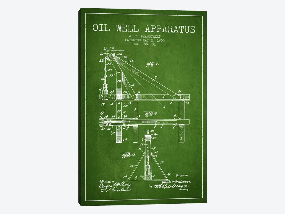 Oil Well Apparatus Green Patent Blueprint by Aged Pixel 1-piece Art Print