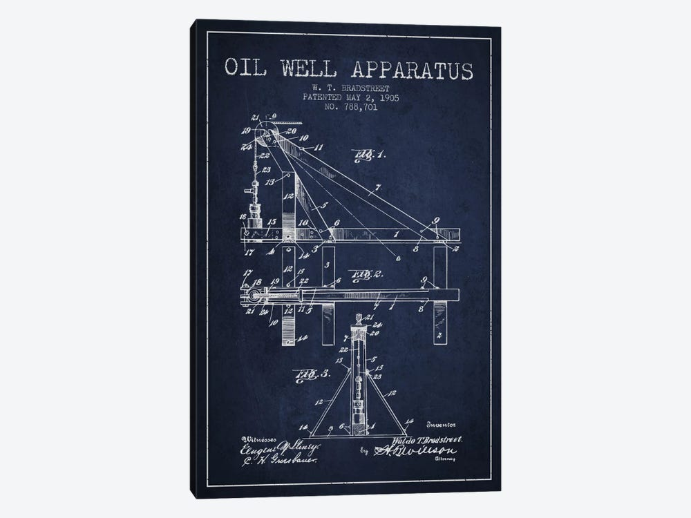 Oil Well Apparatus Navy Blue Patent Blueprint by Aged Pixel 1-piece Canvas Wall Art