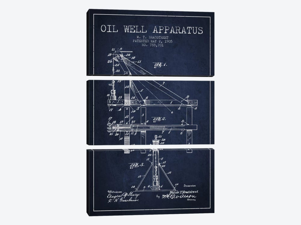 Oil Well Apparatus Navy Blue Patent Blueprint by Aged Pixel 3-piece Canvas Artwork