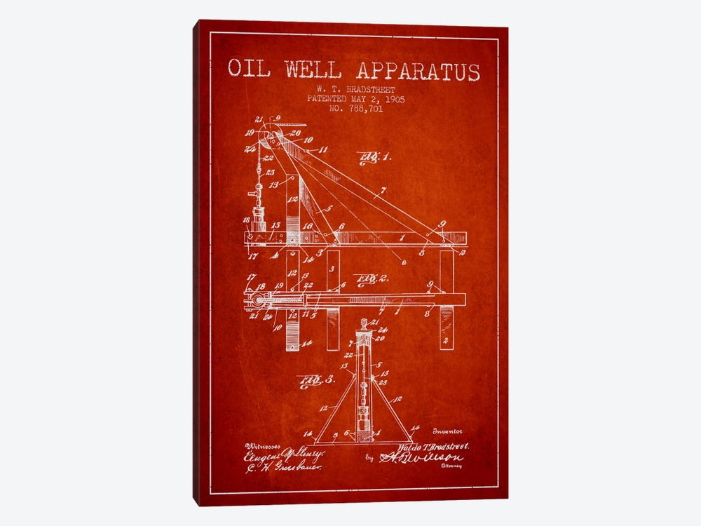 Oil Well Apparatus Red Patent Blueprint by Aged Pixel 1-piece Canvas Print