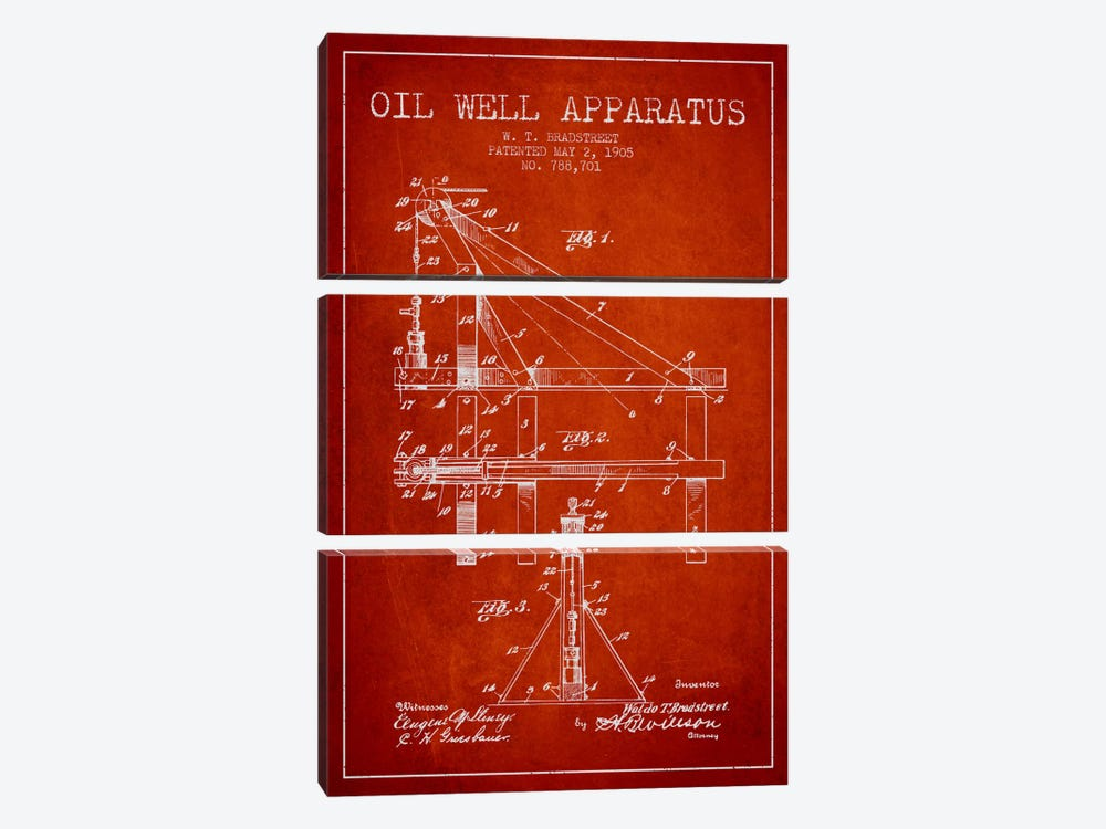 Oil Well Apparatus Red Patent Blueprint by Aged Pixel 3-piece Canvas Art Print