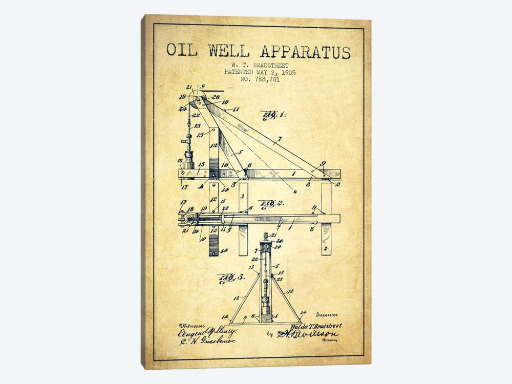 Oil Well Apparatus Vintage Patent Blueprint by Aged Pixel 1-piece Canvas Art