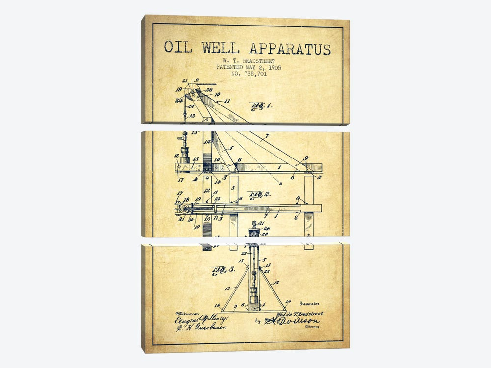 Oil Well Apparatus Vintage Patent Blueprint by Aged Pixel 3-piece Canvas Art