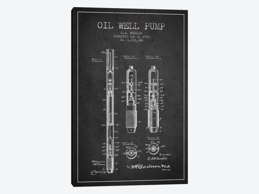 Oil Well Pump Charcoal Patent Blueprint by Aged Pixel 1-piece Art Print