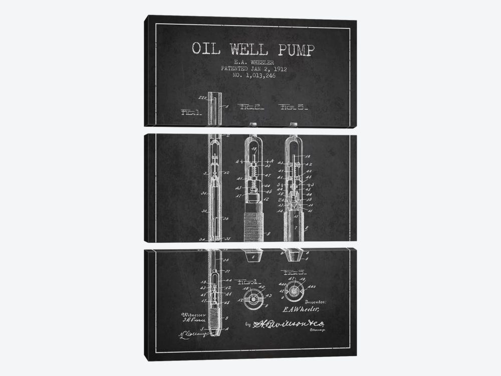 Oil Well Pump Charcoal Patent Blueprint by Aged Pixel 3-piece Art Print