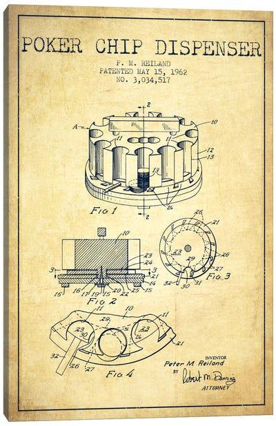Poker Chip 3 Vintage Patent Blueprint Canvas Print #ADP150