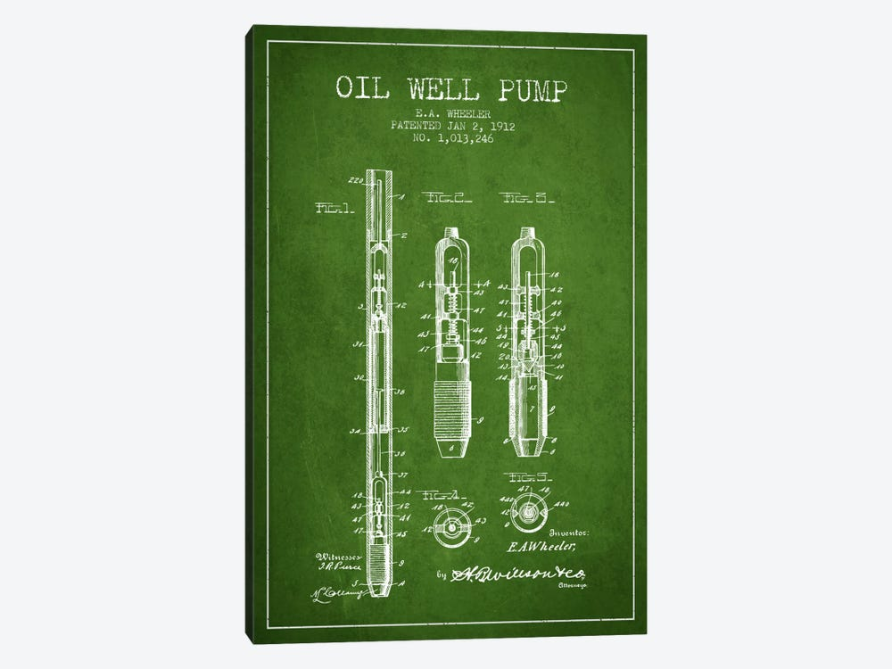 Oil Well Pump Green Patent Blueprint by Aged Pixel 1-piece Canvas Art Print