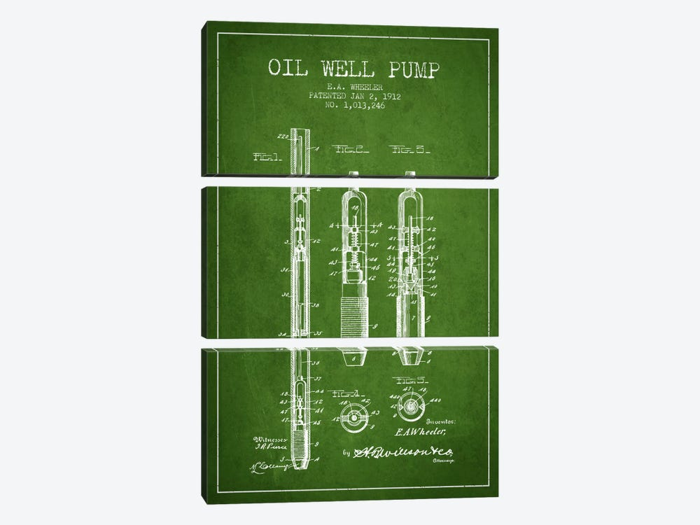 Oil Well Pump Green Patent Blueprint by Aged Pixel 3-piece Canvas Print