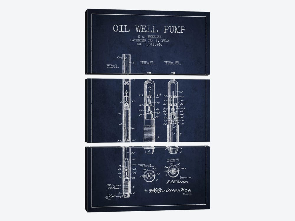 Oil Well Pump Navy Blue Patent Blueprint by Aged Pixel 3-piece Canvas Artwork