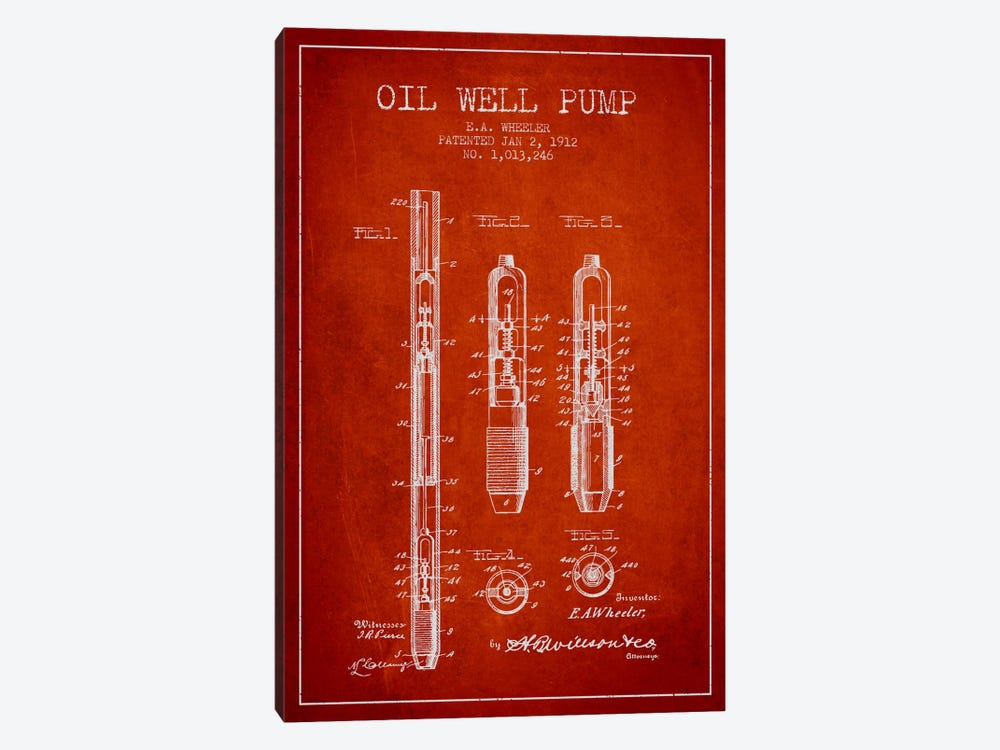 Oil Well Pump Red Patent Blueprint by Aged Pixel 1-piece Art Print
