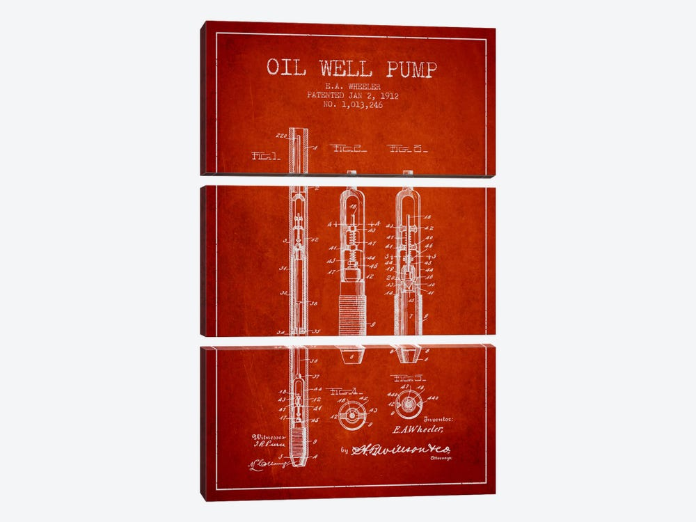 Oil Well Pump Red Patent Blueprint by Aged Pixel 3-piece Canvas Art Print