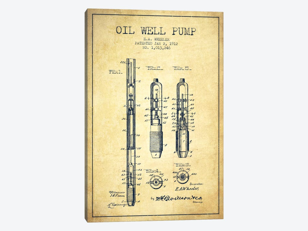 Oil Well Pump Vintage Patent Blueprint by Aged Pixel 1-piece Canvas Art