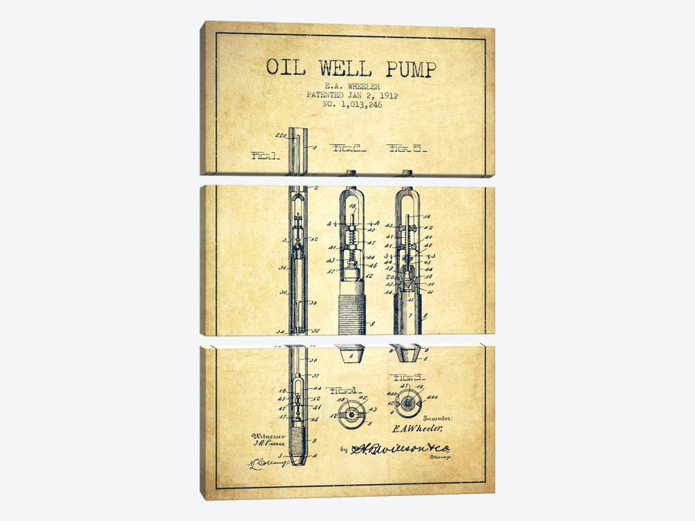Oil Well Pump Vintage Patent Blueprint by Aged Pixel 3-piece Canvas Artwork