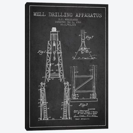 Drilling Apparatus Dark Patent Blueprint Canvas Print #ADP1514} by Aged Pixel Art Print