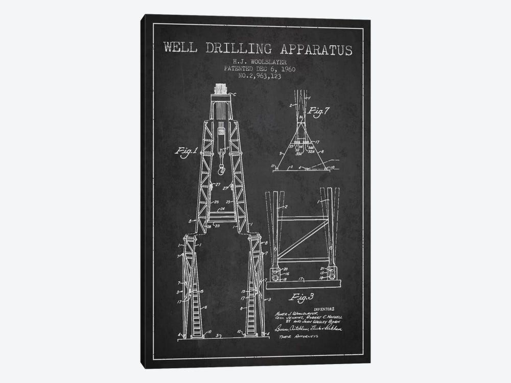 Drilling Apparatus Dark Patent Blueprint by Aged Pixel 1-piece Canvas Art Print
