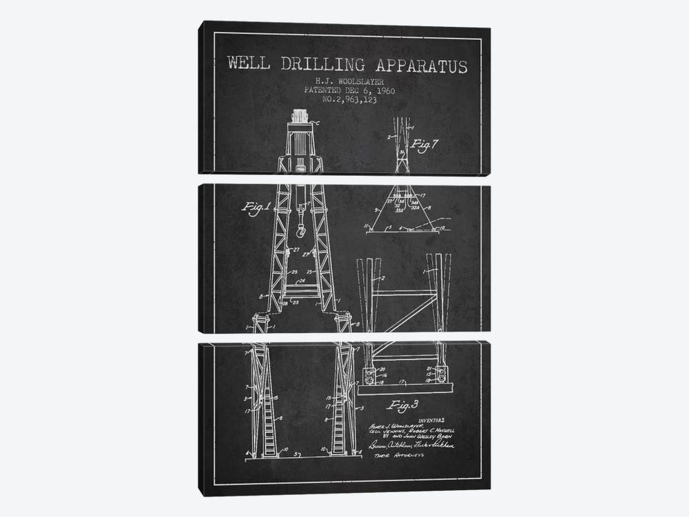 Drilling Apparatus Dark Patent Blueprint by Aged Pixel 3-piece Art Print